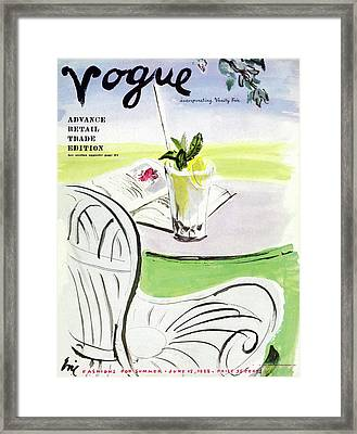 Vogue Cover Illustration Of A Beverage And Book Framed Print