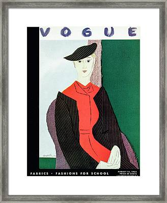 Vogue Cover Illustration Of A Blond Woman In Red Framed Print