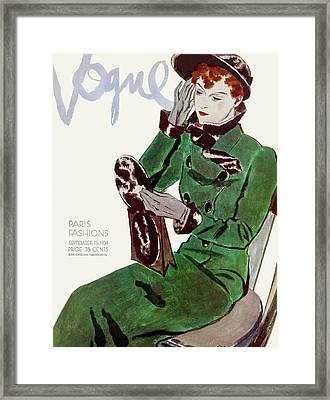 Vogue Cover Illustration Of A Woman In A Green Framed Print