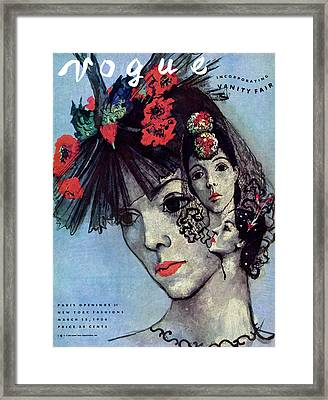 Vogue Magazine Cover Featuring A Woman In Three Framed Print