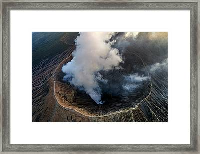 Framed Print featuring the photograph Volcanic Crater From Above by Pradeep Raja Prints