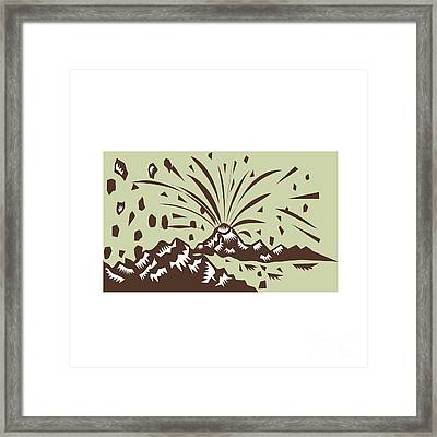Volcano Eruption Island Woodcut Framed Print