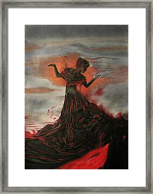 Framed Print featuring the painting Volcano Keeper by Melita Safran
