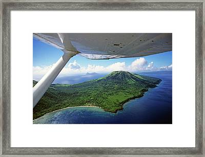 Volcanoes Seen From A Plane On The Island Of Efate Framed Print by Sami Sarkis