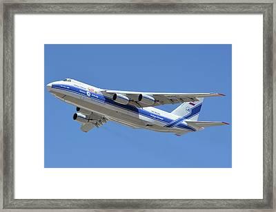 Framed Print featuring the photograph Volga-dnepr An-124 Ra-82068 Take-off Phoenix Sky Harbor June 15 2016 by Brian Lockett