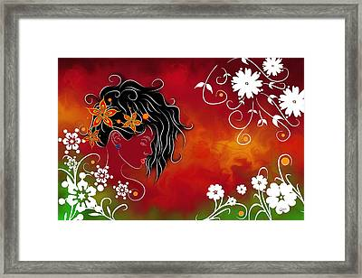 Volimius V1 - Beauty With Flowers Framed Print by Cersatti