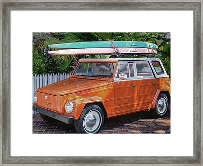 Volkswagen And Surfboards Framed Print