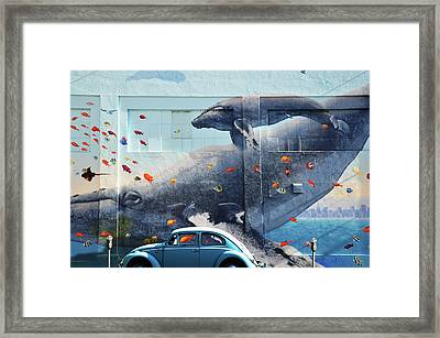 Volkswagen Beetle And Humpback Whale Framed Print by Larry Butterworth