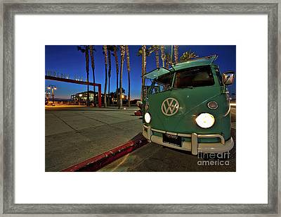 Volkswagen Bus At The Imperial Beach Pier Framed Print