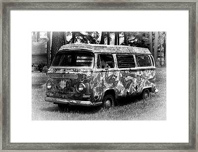Framed Print featuring the photograph Volkswagen Microbus Nostalgia In Black And White by Bill Swartwout Fine Art Photography