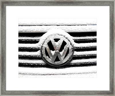 Volkswagen Symbol Under The Snow Framed Print