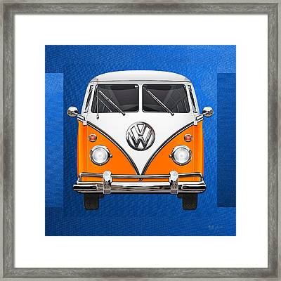 Volkswagen Type - Orange And White Volkswagen T 1 Samba Bus Over Blue Canvas Framed Print by Serge Averbukh