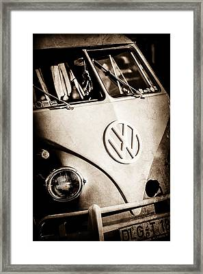 Framed Print featuring the photograph Volkswagen Vw Bus Emblem -1355s by Jill Reger