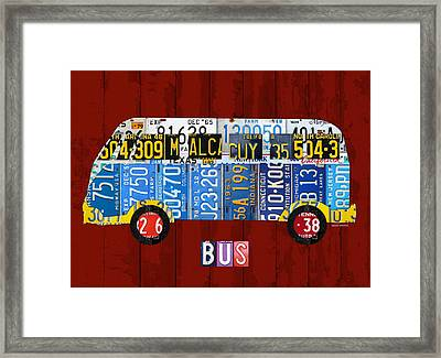 Volkswagen Vw Bus Vintage Classic Retro Vehicle Recycled License Plate Art Usa Framed Print by Design Turnpike
