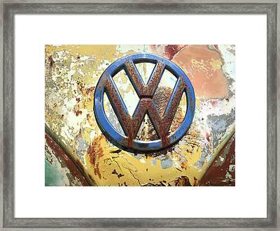 Volkswagen Vw Emblem With Rust Framed Print