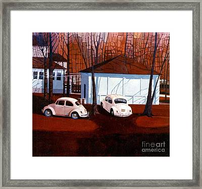 Volkswagons In Red Framed Print by Donald Maier