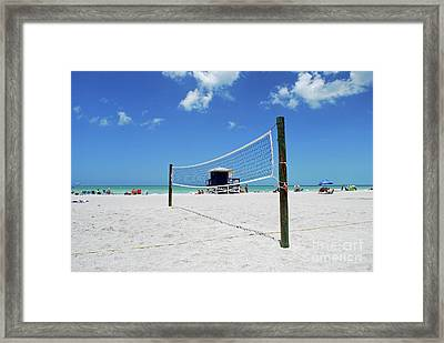 Framed Print featuring the photograph Volley Ball On The Beach by Gary Wonning