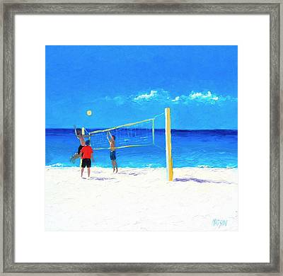 Volleyball Beach Painting Framed Print
