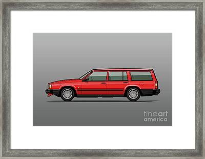 Volvo 740 745 Classic Red Framed Print by Monkey Crisis On Mars