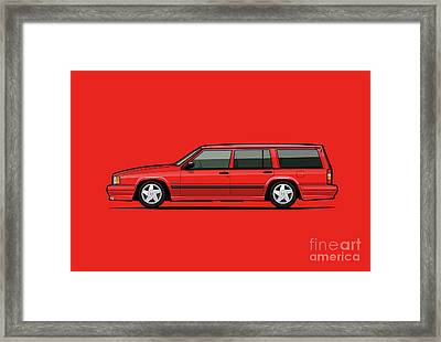 Volvo 740 745 Se Turbo Classic Red Framed Print