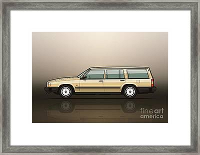 Volvo 740 745 Wagon Gold Framed Print by Monkey Crisis On Mars
