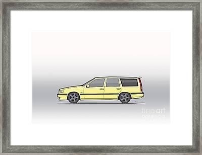 Volvo 850r 855r T5-r Swedish Turbo Wagon Cream Yellow Framed Print by Monkey Crisis On Mars