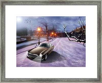 Volvo P1800 Snow Scene Framed Print by Linton Hart