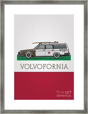 Volvofornia Slammed Volvo 245 240 Wagon California Style Framed Print by Monkey Crisis On Mars