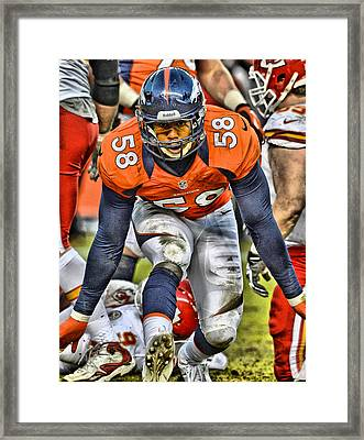 Von Miller Broncos Art 4 Framed Print by Joe Hamilton