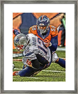 Von Miller Denver Broncos Art Framed Print by Joe Hamilton