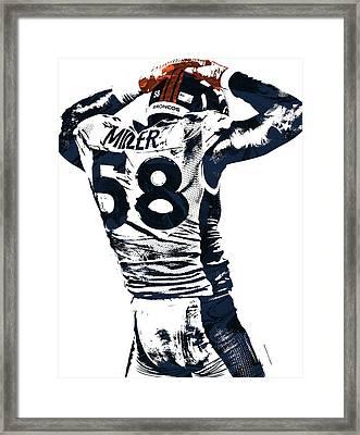 Von Miller Denver Broncos Pixel Art 4 Framed Print