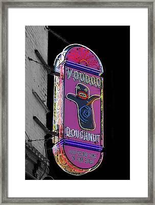 Voodoo Doughnut Neon Sign In Black And White Framed Print
