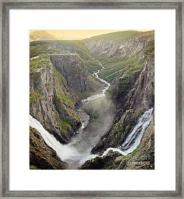 Voringsfossen Waterfall And Canyon Framed Print by IPics Photography
