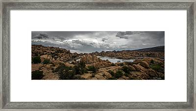 Vortex Of Water Clouds And Rock Framed Print by A O Tucker