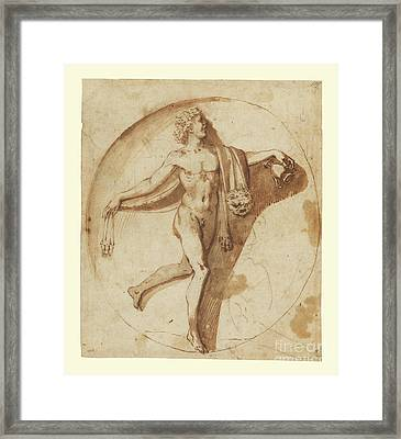 Votary Of Bacchus By Nicolas Poussin Framed Print by Esoterica Art Agency