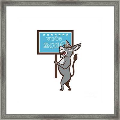 Vote 2016 Democrat Donkey Mascot Cartoon Framed Print by Aloysius Patrimonio