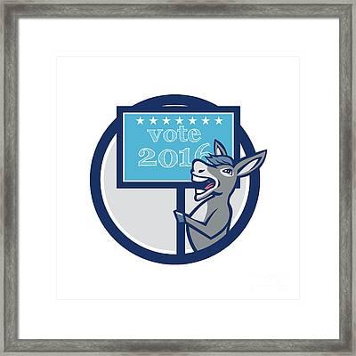 Vote 2016 Democrat Donkey Mascot Circle Cartoon Framed Print by Aloysius Patrimonio