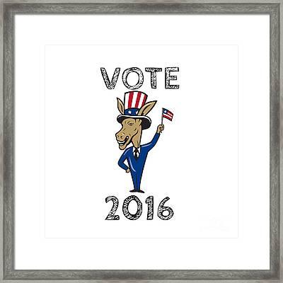 Vote 2016 Democrat Donkey Mascot Flag Cartoon Framed Print by Aloysius Patrimonio