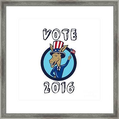 Vote 2016 Democrat Donkey Mascot Flag Circle Cartoon Framed Print by Aloysius Patrimonio
