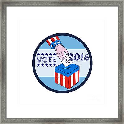 Vote 2016 Hand Ballot Box Circle Etching Framed Print by Aloysius Patrimonio