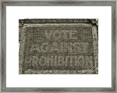 Vote Against Prohibition 1 Framed Print by Paul Ward