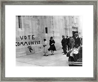 Vote Communist Is Painted On The Church Framed Print
