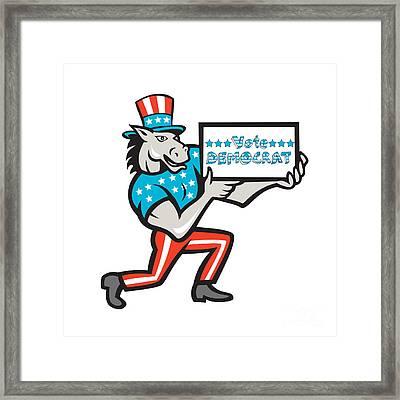 Vote Democrat Donkey Mascot Cartoon Framed Print by Aloysius Patrimonio