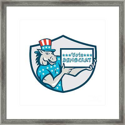 Vote Democrat Donkey Mascot Shield Cartoon Framed Print by Aloysius Patrimonio