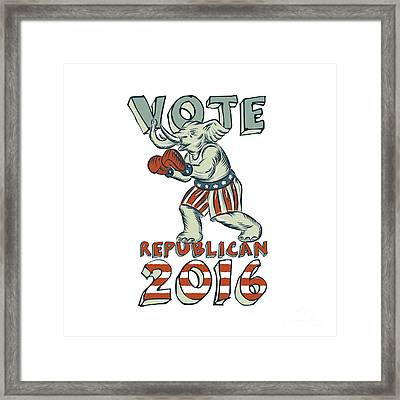 Vote Republican 2016 Elephant Boxer Isolated Etching Framed Print