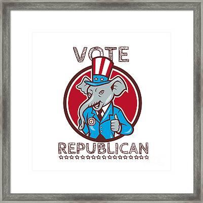 Vote Republican Elephant Mascot Thumbs Up Circle Cartoon Framed Print by Aloysius Patrimonio