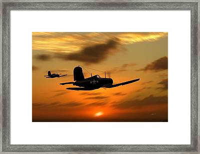 Vought Corsairs At Sunset Framed Print by John Wills