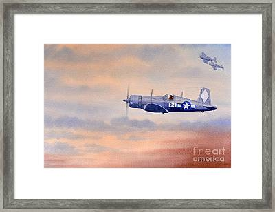 Framed Print featuring the painting Vought F4u-1d Corsair Aircraft by Bill Holkham