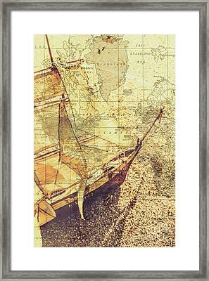 Voyage Concept. Ship Floating On Map Background Framed Print