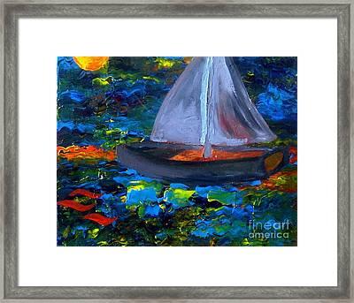 Voyage With A Sea Serpent Framed Print by Karen L Christophersen